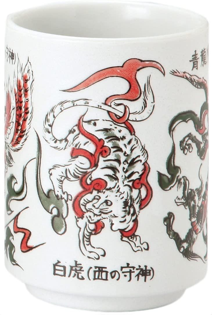 Yamashi Mino ware Japanese Ceramics Yunomi Chawan Animals of God (Tiger, Dragon, Peacock.)