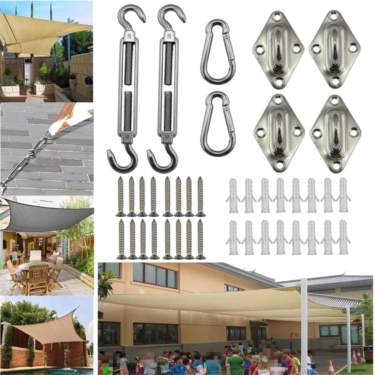 PBQWER Sun Shade Sail Kit of Rectangle Or Triangle Sails, Heavy Duty Stainless Steel for Outdoor Using
