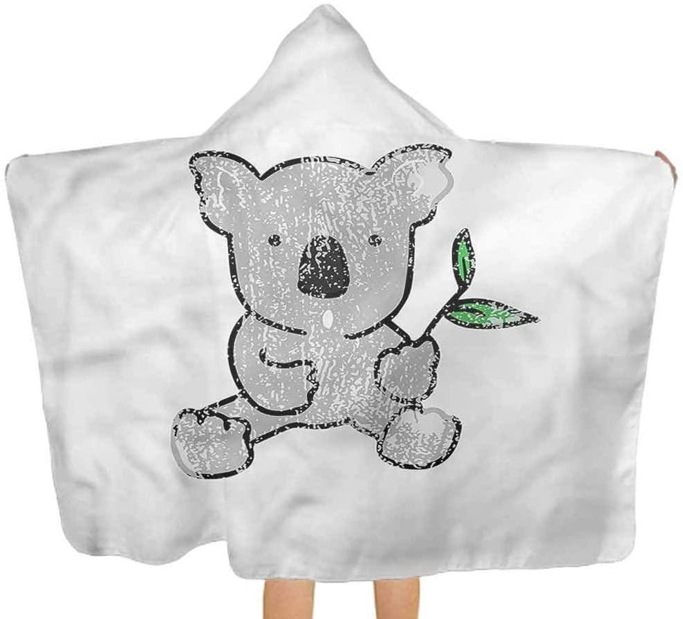 ThinkingPower Hooded Towel for Kids Koala, Cartoon Style Drawing Bear Hooded Baby Towel Washcloth Perfect Boys and Girls 51.5x31.8 Inch