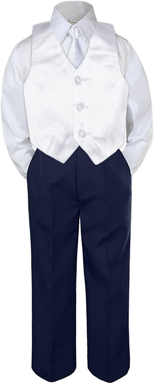 Leadertux 4pc Baby Toddler Boys White Vest Necktie Navy Blue Pants Suits Set S-7