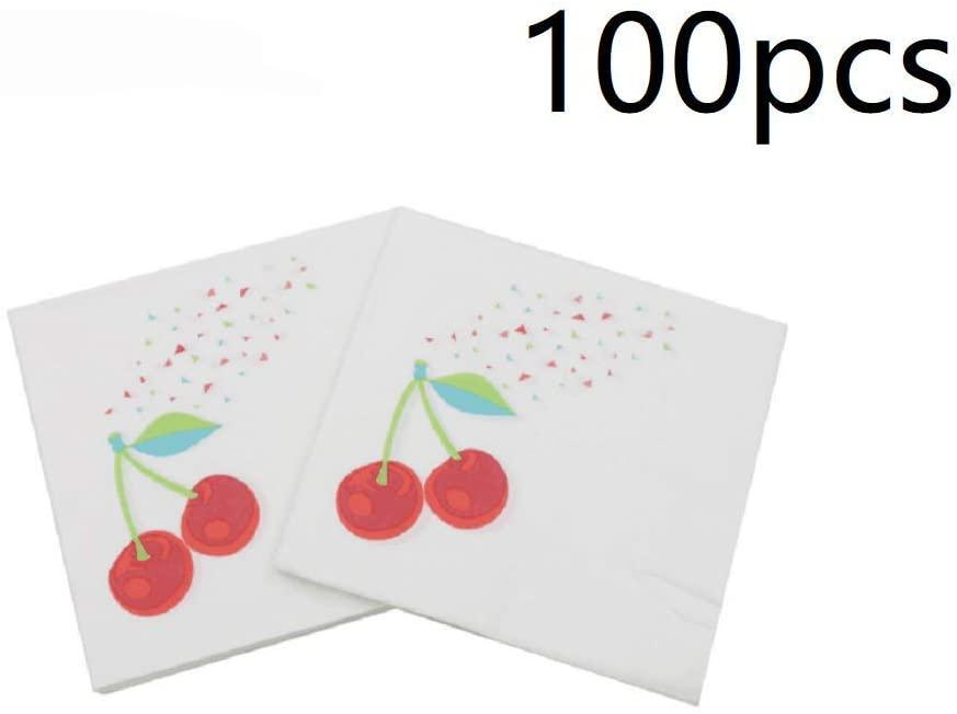 100pcs Paper Napkin Fruits Printed Party Napkin Beverage Cocktail Napkin for Wedding Birthday Party Supplies Decor - Cherry