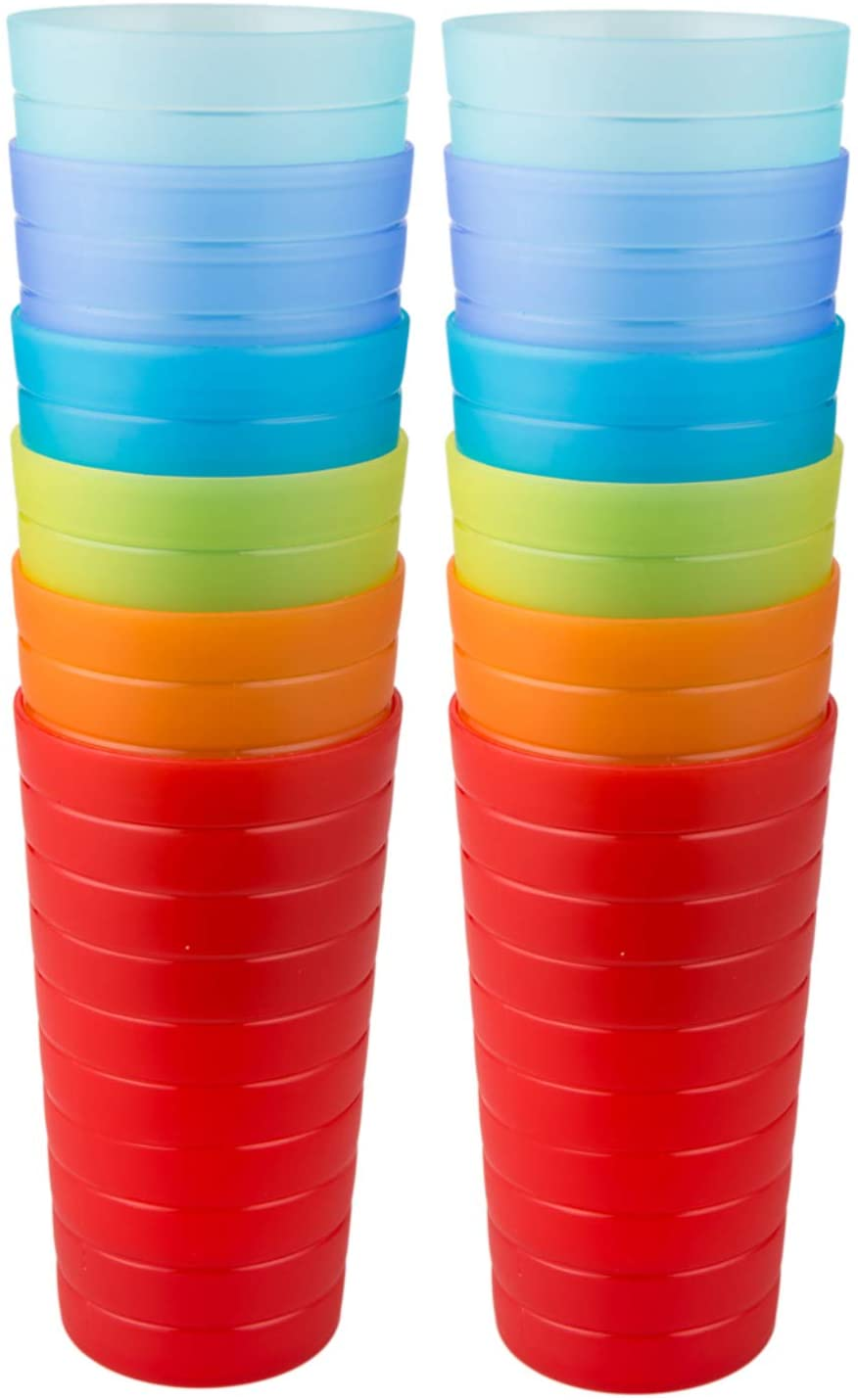 AOYITE Plastic Tumblers Drinking Glasses Set of 12   Break Resistant 22 oz Plastic Cups   6 Assorted Colors Restaurant Quality   BPA Free