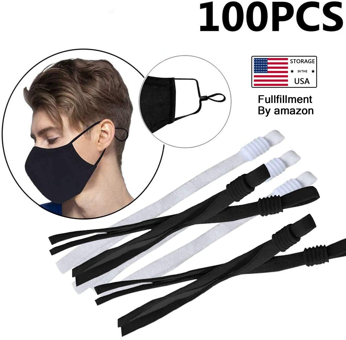 YEAQING 100 Pieces Sewing Elastic Band Cord with Adjustable Buckle Stretch Earloop Lanyard Earmuff Rope for DIY Sewing Making Supplies-Black