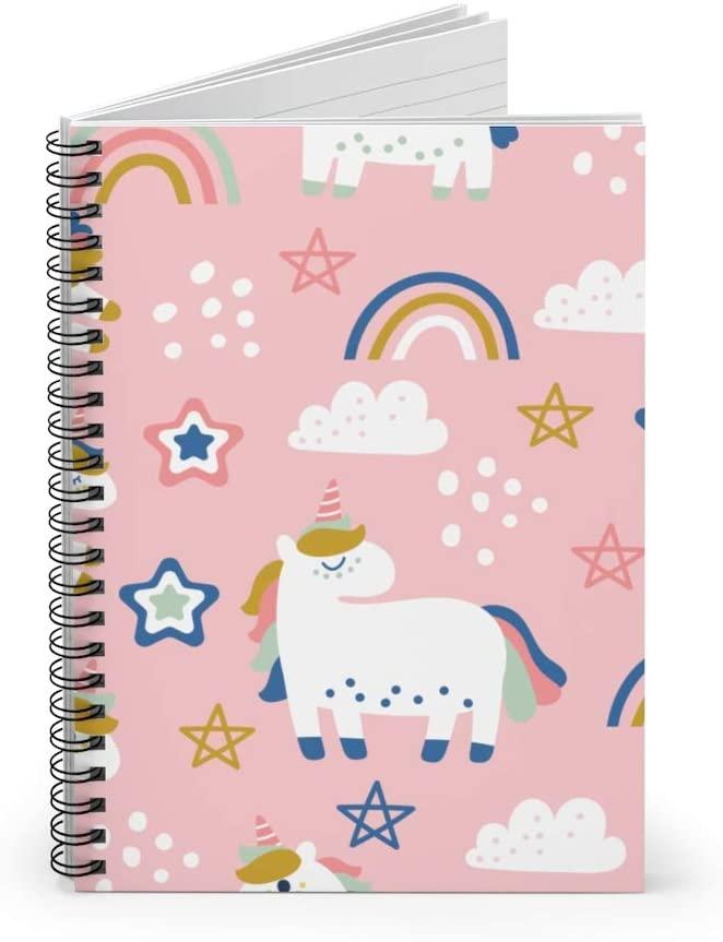 Unicorn Rainbow Pattern Spiral Notebook Cute Pink Unicorn Ruled Notebook Diary Journal Lined Notebook Gift