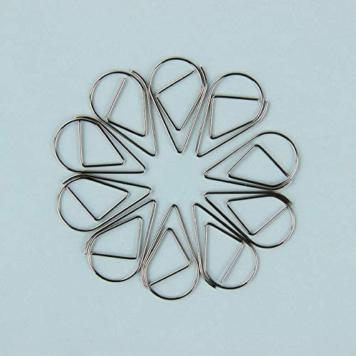 Clips 10PCS/lot Kawaii Metal Raindrop Paper Clips Mini Creative Multifunctional Bookmark Clip Memo Clip Paper for Office School - (Color: Silver)