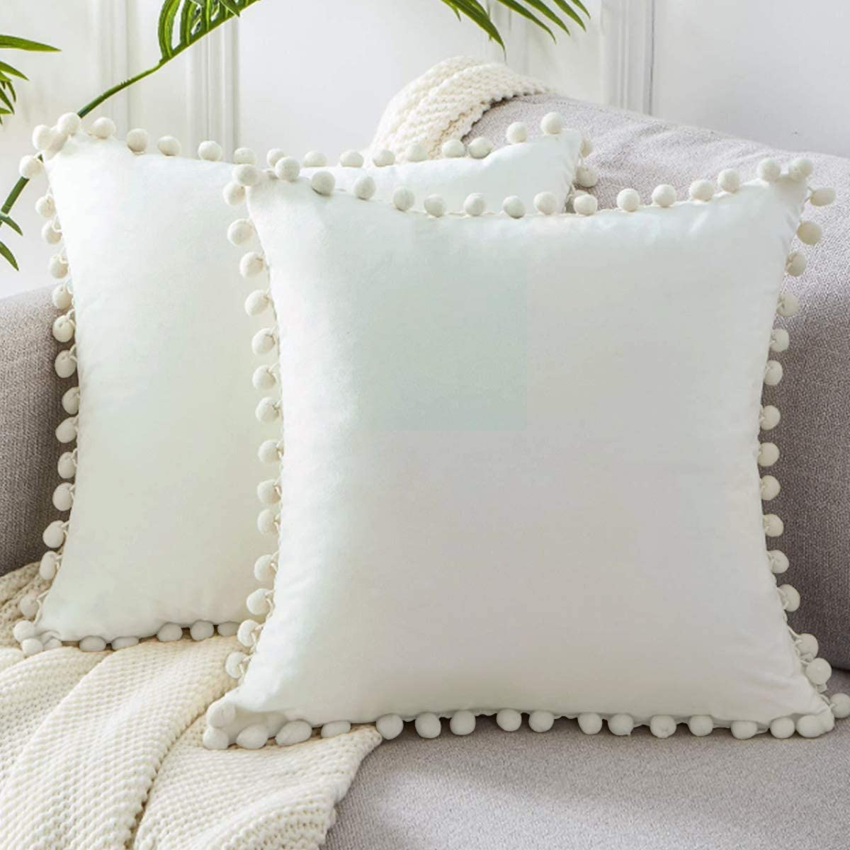 LHKIS Throw Pillow Covers 18x18 Set of 2 Decrative for Couch Sofa, with Pom Poms, Beige