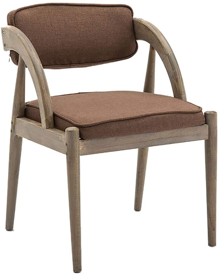 GWW Solid Wood Dining Chair, Nordic Armrest Lounge Chair, Fabric Backrest Chair, for Living Room Bedroom Pub Hotel
