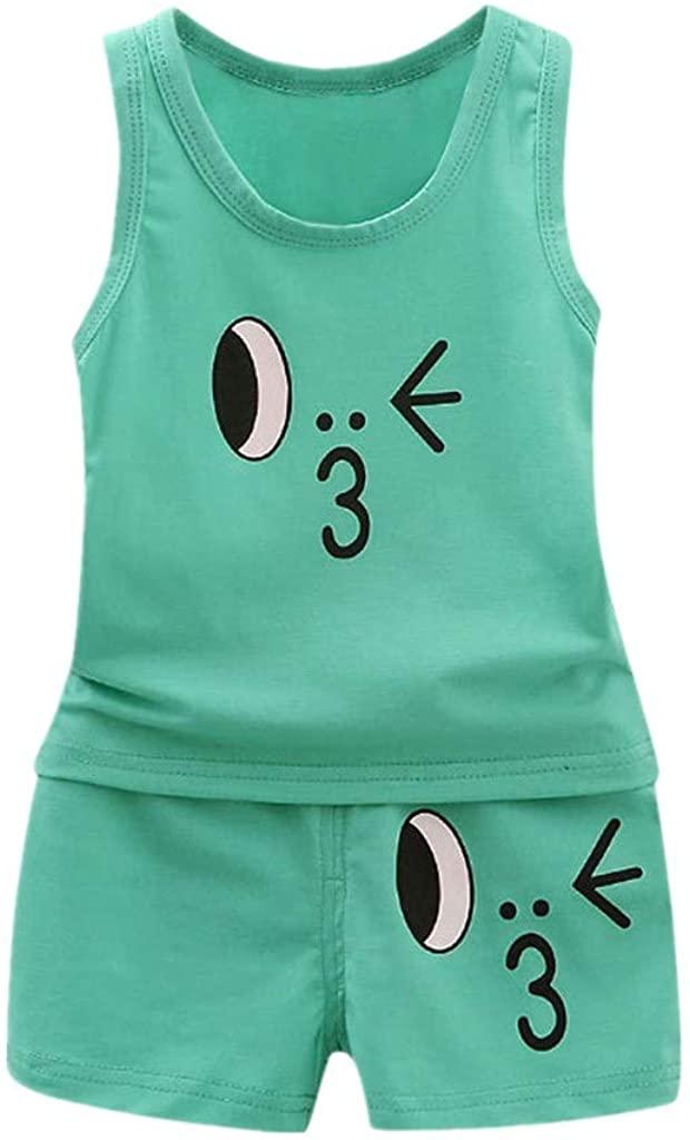 terbklf 2Pcs Toddler Baby Girls Boys Cute Duck Print Vest Tops T Shirt Shorts Outfits Set Summer Stylish Beach Wear