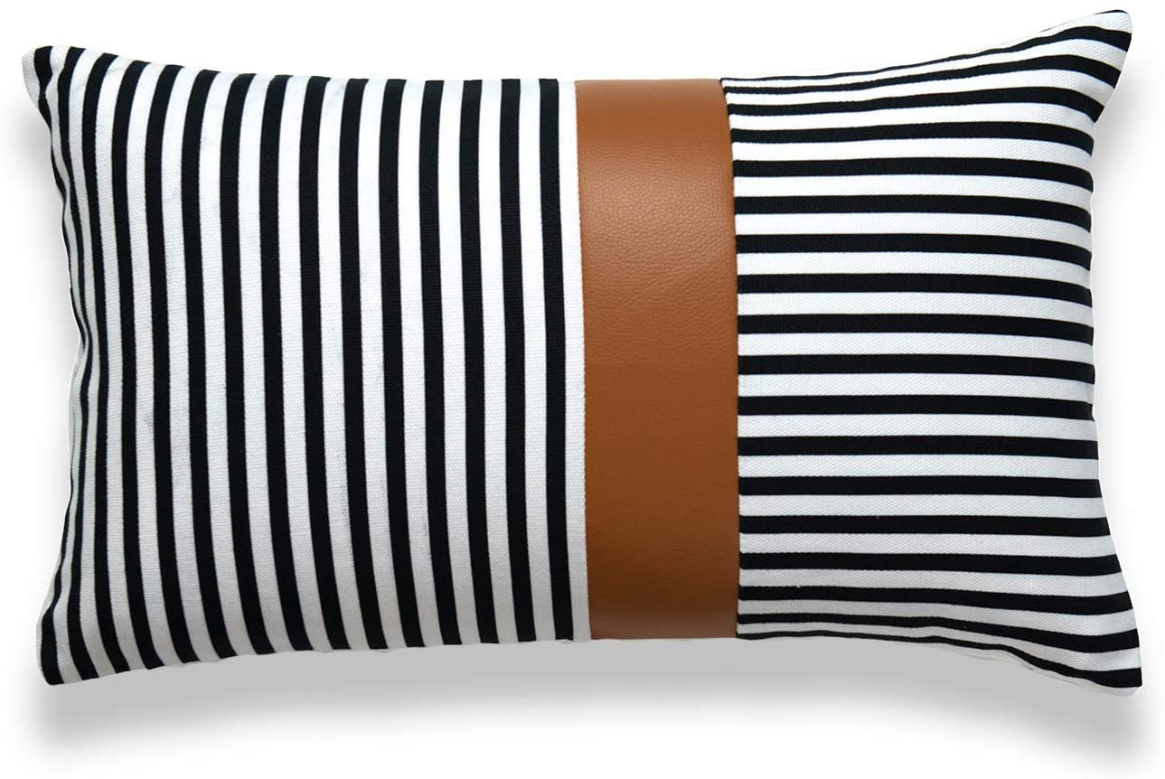 Hofdeco Faux Leather and 100% Cotton Pillow Cover ONLY, Camel Black Modern Design Stripes, 12x20