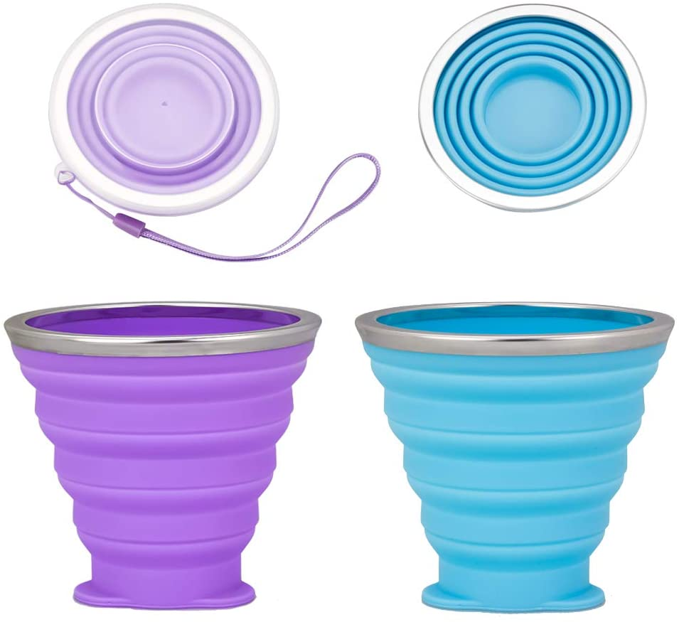 YAWALL Collapsible Cup - Mini Silicone Folding Travel Camping Cup with Lids Portable Measuring Water Cup Set for Traveling, Hiking, Camping, Picnic