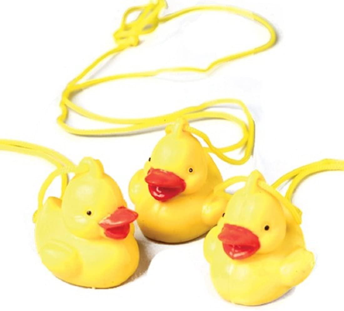 Dozen Classic Yellow Rubber Duck Duckie Necklaces
