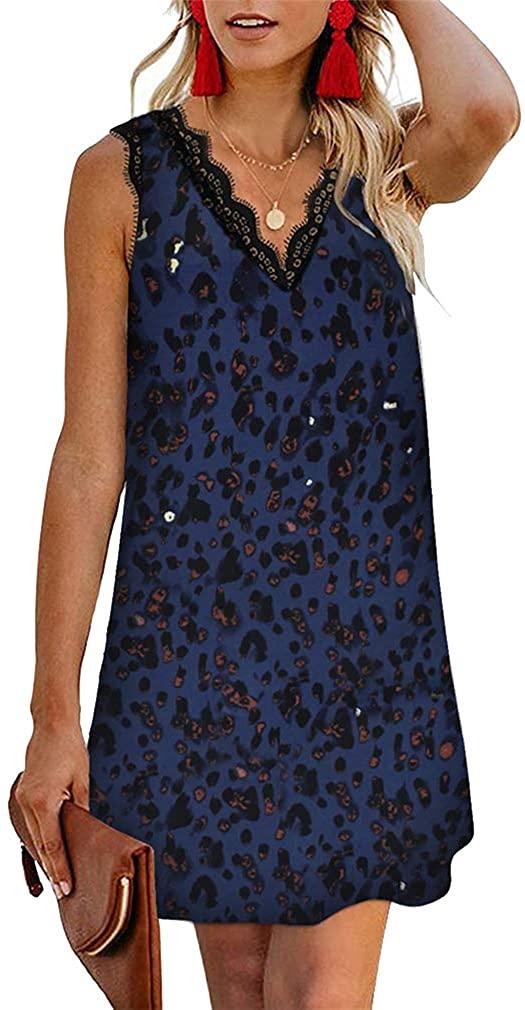Paixpays Women Lace Trim V-Neck Sling Dress Straight Loose Short Skirt Mini Dress