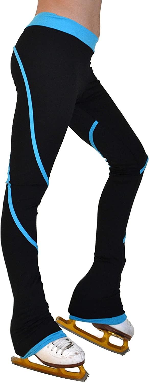 ChloeNoel P76 - Heavy Poly Spandex Pipings Swirl Figure Skating Pants Turquoise Adult Medium
