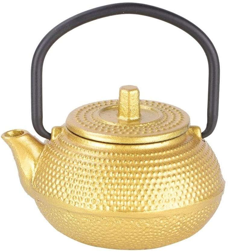 Vobor Cast Iron Tea Pot - 300 ML Mini Cast Iron Flat Bottom Tea Pot, 0.3 L Teapot Teaware with Handle