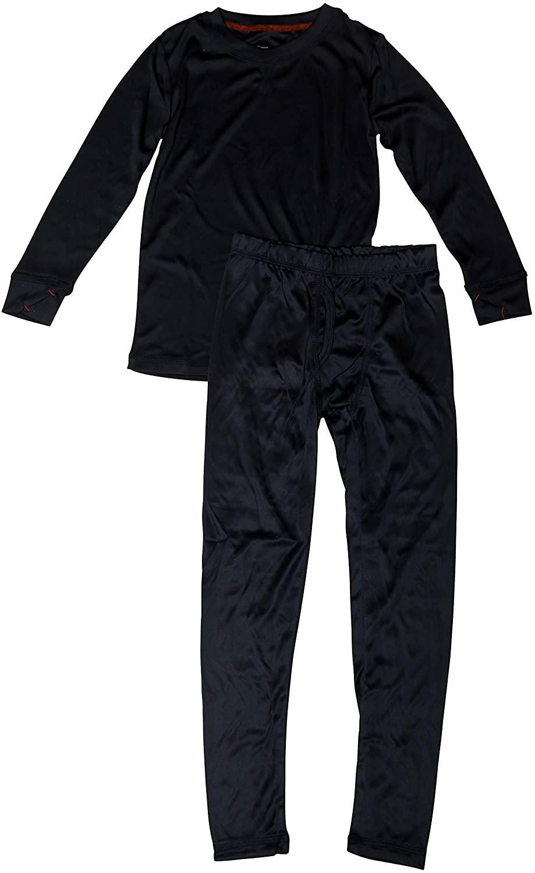 Al & Ema Boys/Girls Fleece Crew Neck and Pant Base Layer Thermal Pajama Set