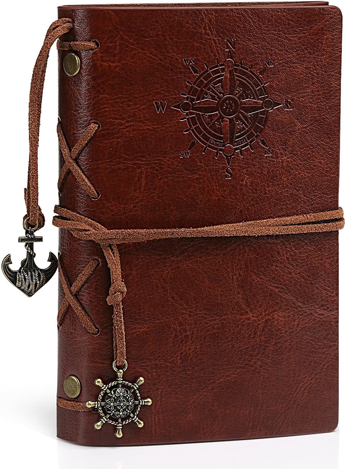 Kesoto A7 Size 5.9X 3.9 Refillable Leather Travel Journal Notebook - with 1 Extra Refill, Vintage Nautical Spiral String Unlined Notepad Portable Personalized Diary with Classic Embossed Cover
