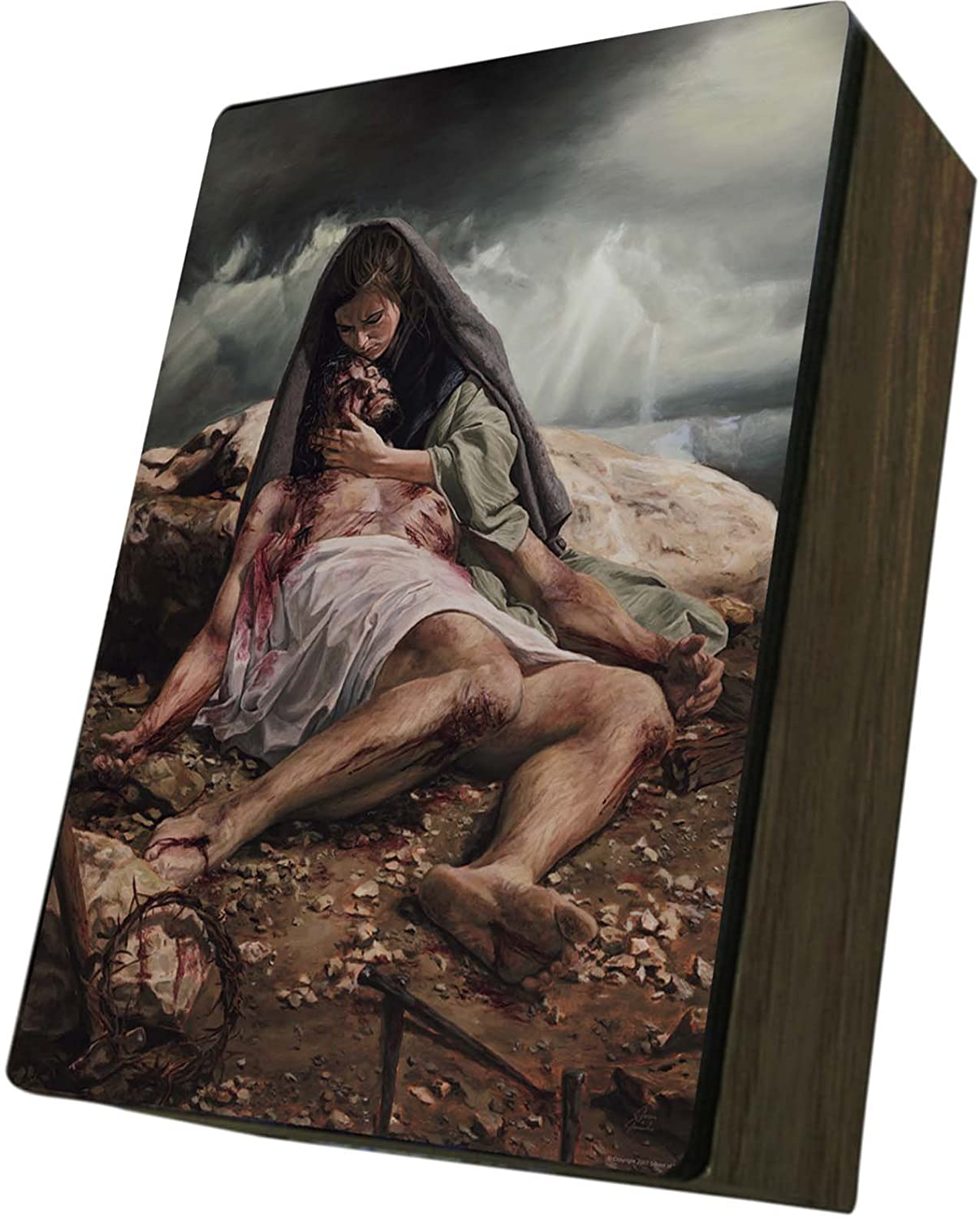 Catholic to the Max|Pieta Jason Jenicke, 4x6.5x2.5in Wooden Keepsake Rosary Jewelry Box, Suede Matte