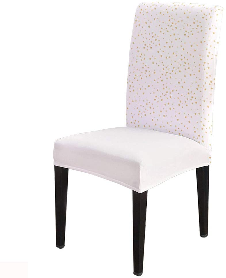 Yellow Pink Stars Girls Room Decor -Removable Chair Covers Set Spandex Dining Chair Protector Slipcovers for Ceremony, Party, Restaurant, Hotel- 6 Pack