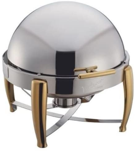 Winco Virtuoso 2 Count Stainless Steel Roll Top Cover Round Food Chafer Warmers Set, 6 qt W/ Gold Accents