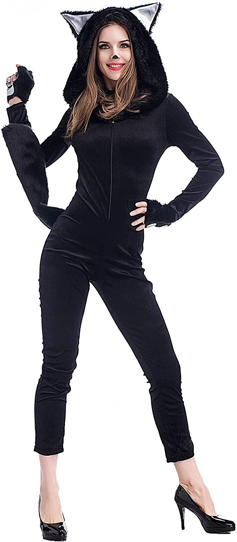 PINSE Sexy Black Cat Animal Jumpsuit Halloween Costumes
