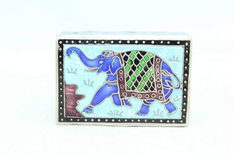 Rajasthan Gems Handmade Trinket Box 925 Sterling Silver Elephant Old Enamel Color Cloisonne - 6