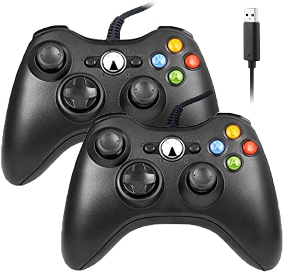 Reiso Xbox 360 Controller, 7.2 ft USB Wired Controller Gamepad Compatible with Microsoft Xbox 360 & Slim 360 PC Windows 7(Black 2 Packs)