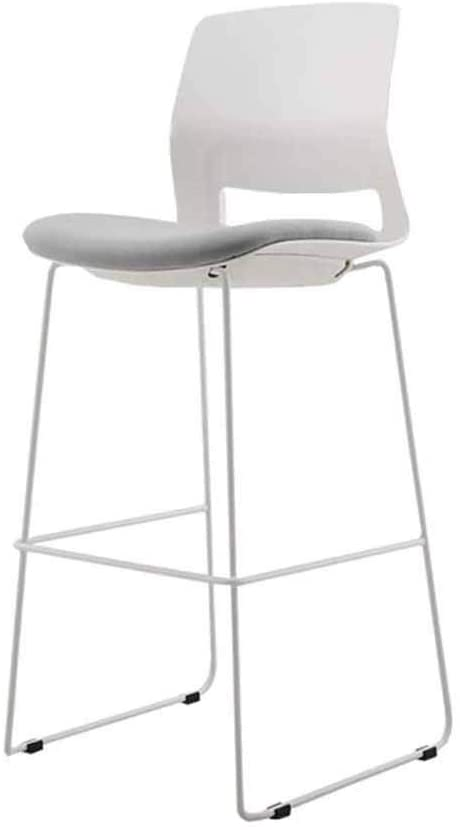 GWW Metal Simple European Bar Stool Kitchen Bar Breakfast Table Stool Counter High Chair Backrest Footstool Lounge Chair(Color : White)