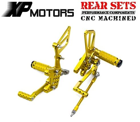 Frames & Fittings Huscus Billet CNC Motorcycle Rearsets Foot Pegs Footrests for Suzuki SV400 SV400S SV 400 400S 1998 1999 2000 2001 2002 - (Color: Gold)