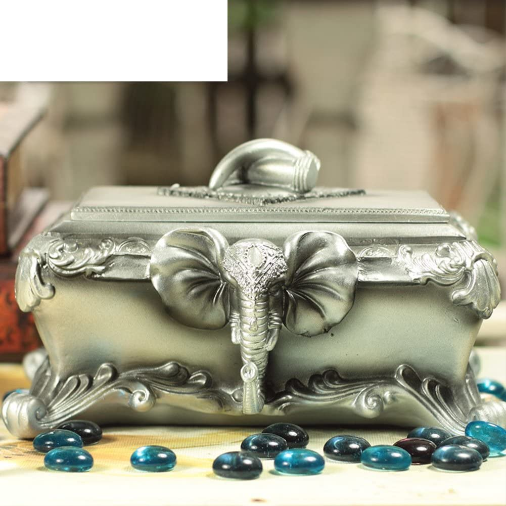 WODESHIJIE Home Decoration/European Elephant Jewelry Box/Villa Ornaments/Animal Resin Decoration