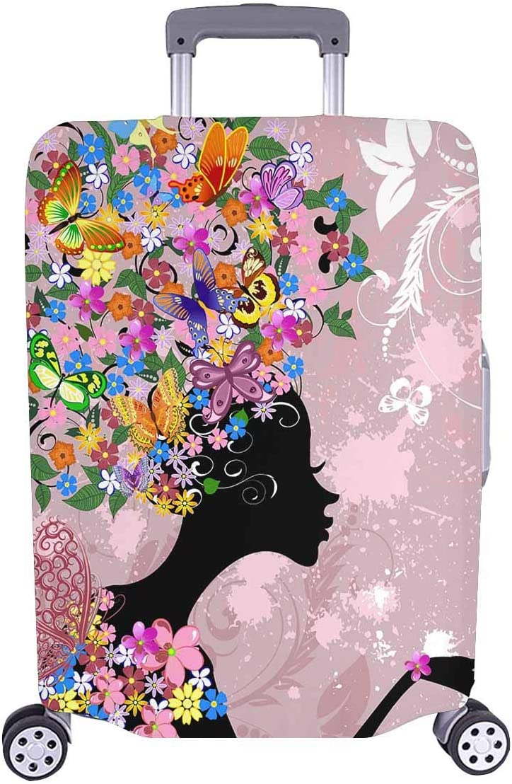 InterestPrint Beautiful Flower Lady with Butterflies Travel Luggage Cover Suitcase Baggage Protector Fit 26