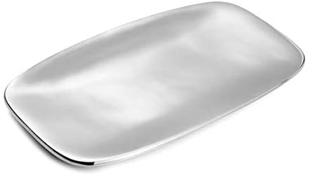 Nambe Marupa Dinnerware Rounded Rectangle Metal Alloy Serving Tray - 11in x 5in Tarnish Resistant and Freezer Safe