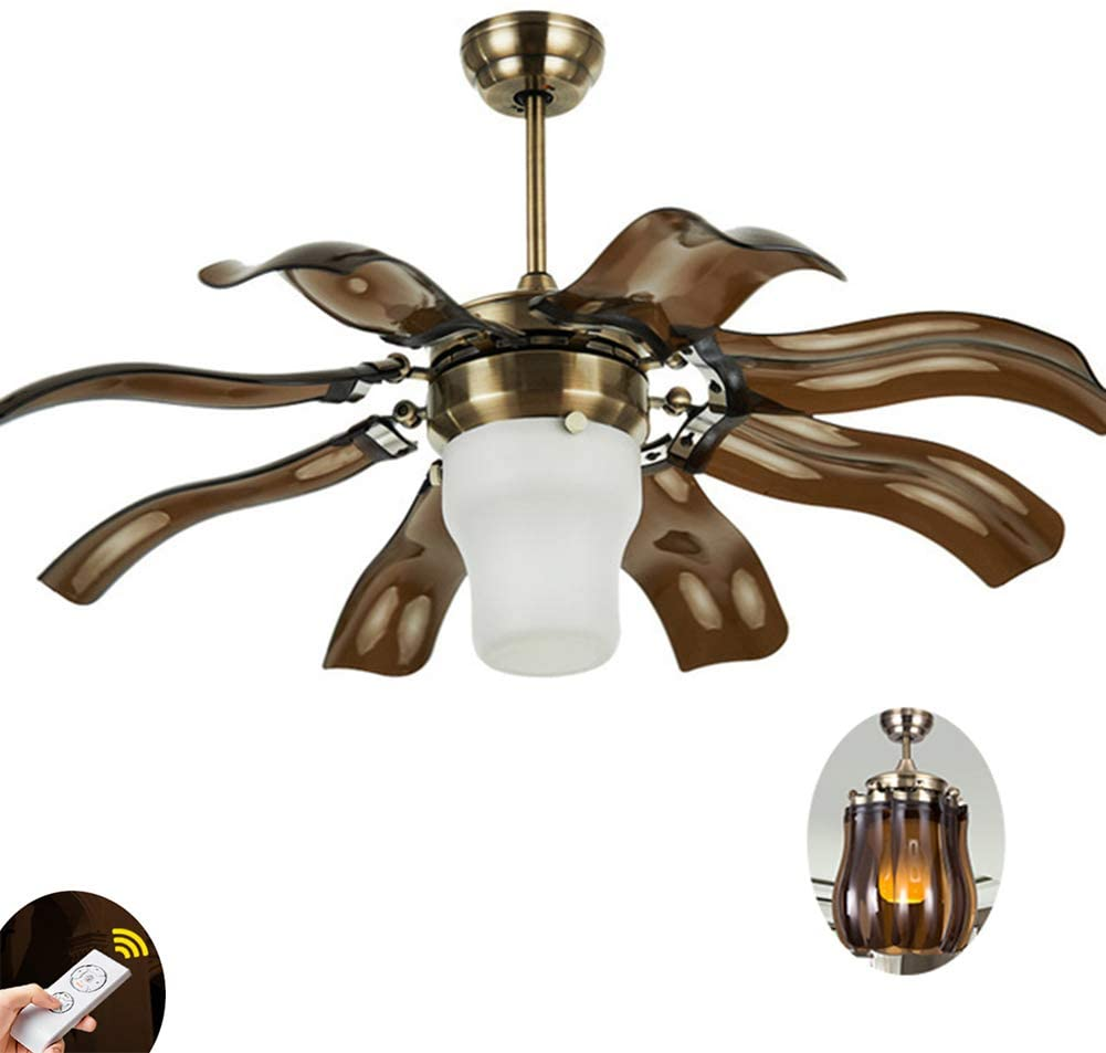 42 inch Ceiling Fan with Light LED Chandelier Remote 8 Folded Blades 3 Speeds Ceiling Fan Light Fixture, Silent Motor LED Kits Included,b