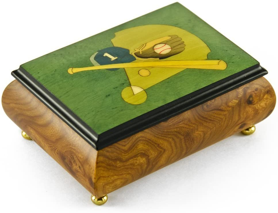 Sports Theme Wood Inlay: Baseball- Collectible 30 Note Musical Jewelry Box - Scarborough Fair