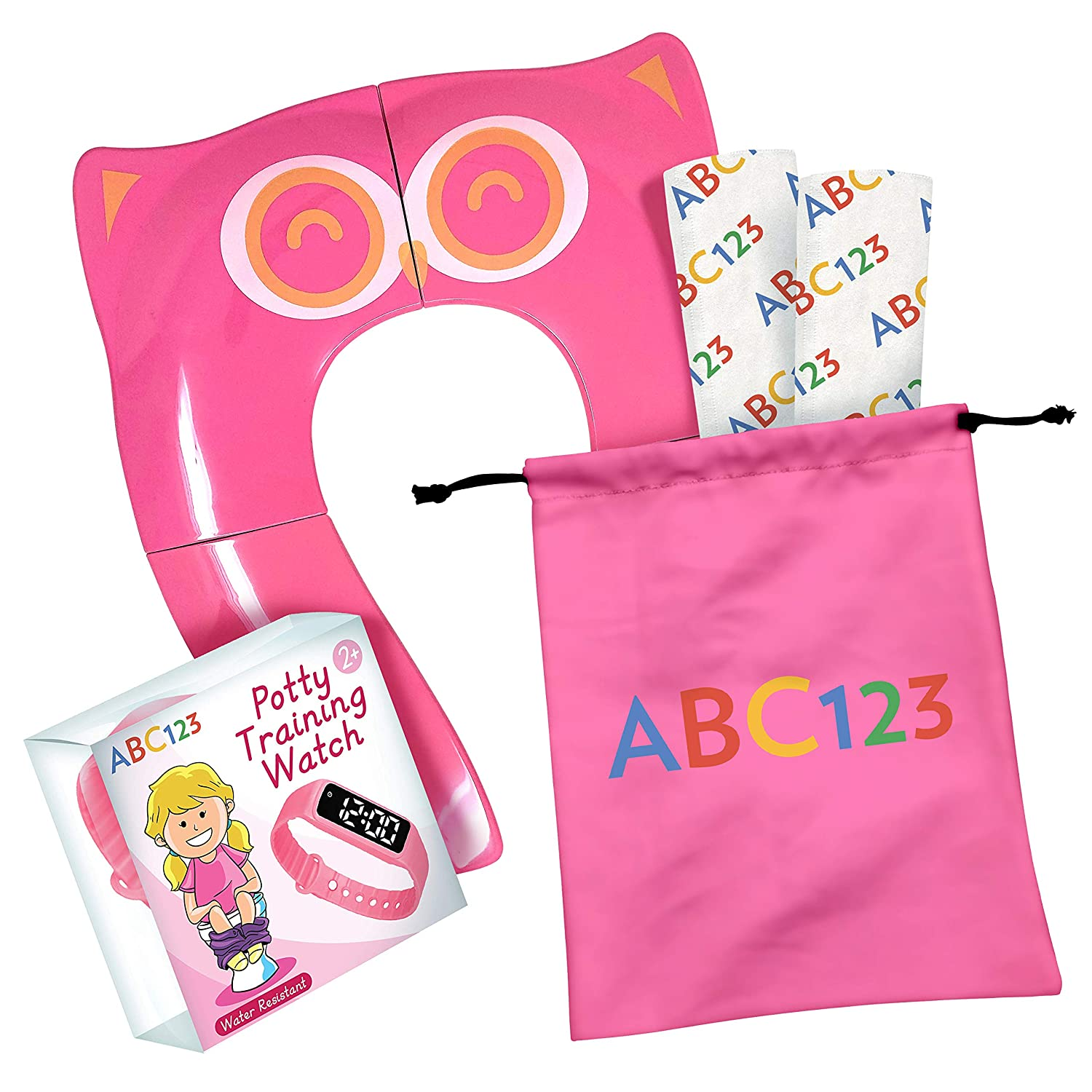 ABC123 - Toddler Potty Training Set - Portable Toilet Seat Cover, Potty Training Watch and 2 Disposable Shields (Pink)