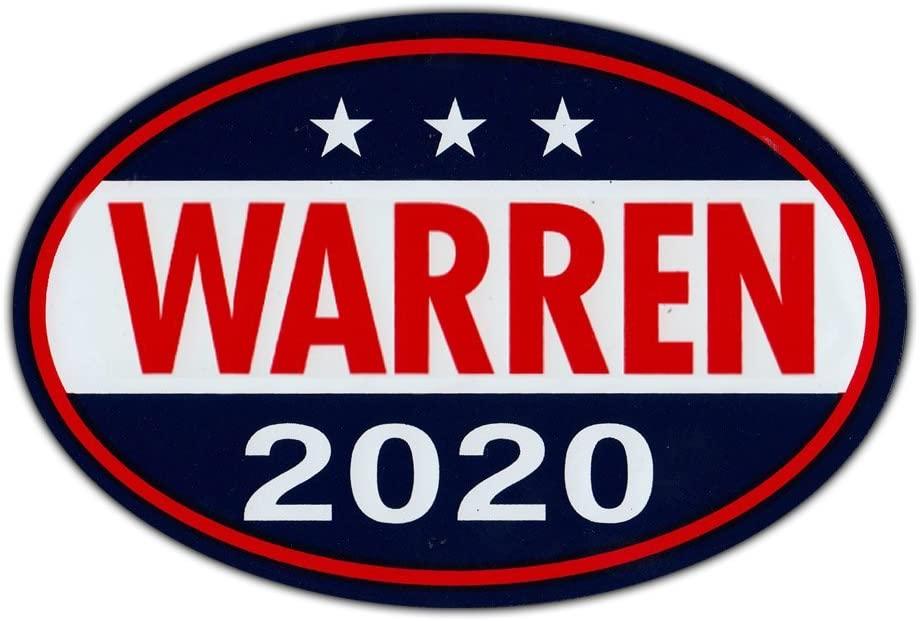Oval Shaped Magnet - Elizabeth Warren for President 2020 - Democrat Party Magnetic Bumper Sticker - 6