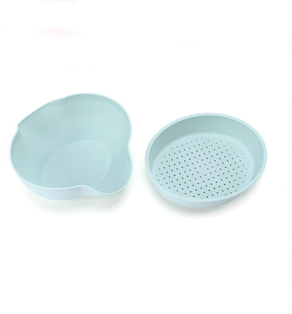QLJJSD Sieve basket, kitchen vegetables basin drain and dry fruit boxes household plastic fruit bowl double Lek Kitchenware (Color : Blue)