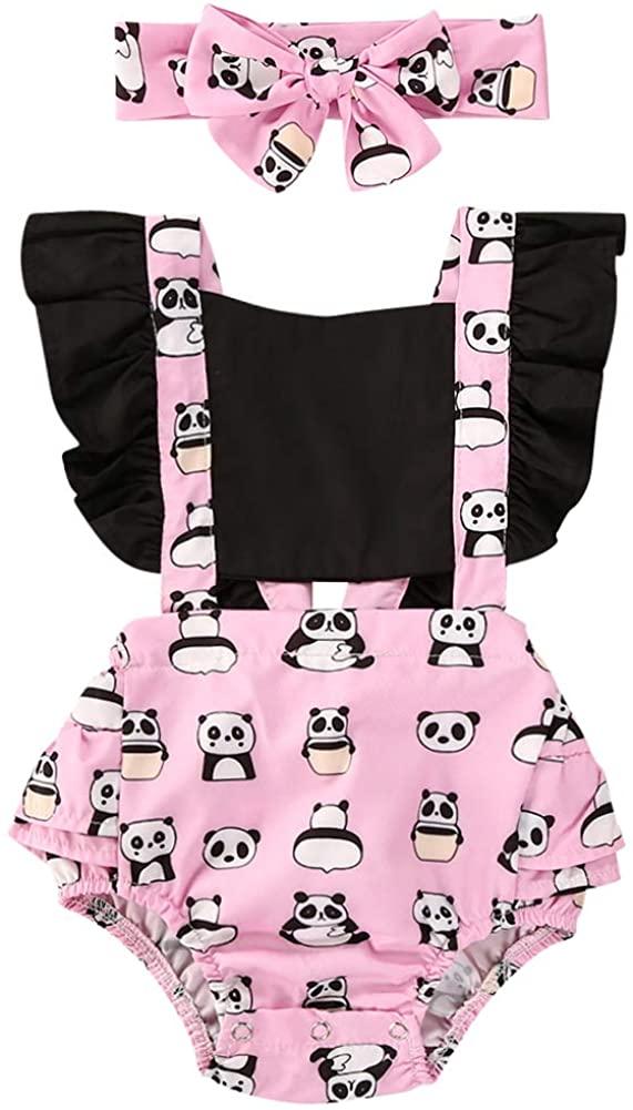 Canis Baby Girls' Full Flower Print Buttons Ruffles Romper Bodysuit with Headband