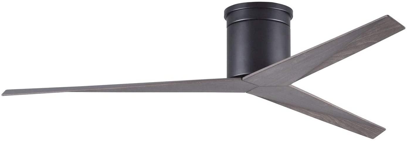 3-Blade 56-inch Matte Black Flushmount Paddle Ceiling Fan with Old Oak Tone Blades Metal Steel