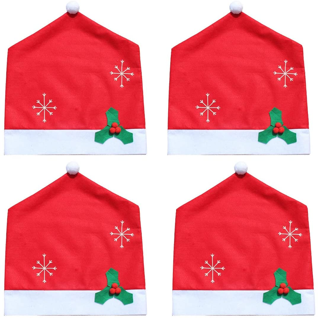 LERTREE 4PCS Christmas Chair Back Cover Table Dinner Decoration for Xmas Christmas Party