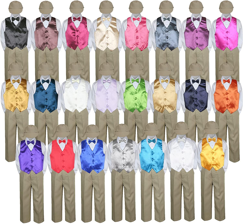Leadertux 5pc Baby Toddler Kid Boy Party Suit Khaki Pants Shirt Vest Bow tie Hat Set Sm-4T