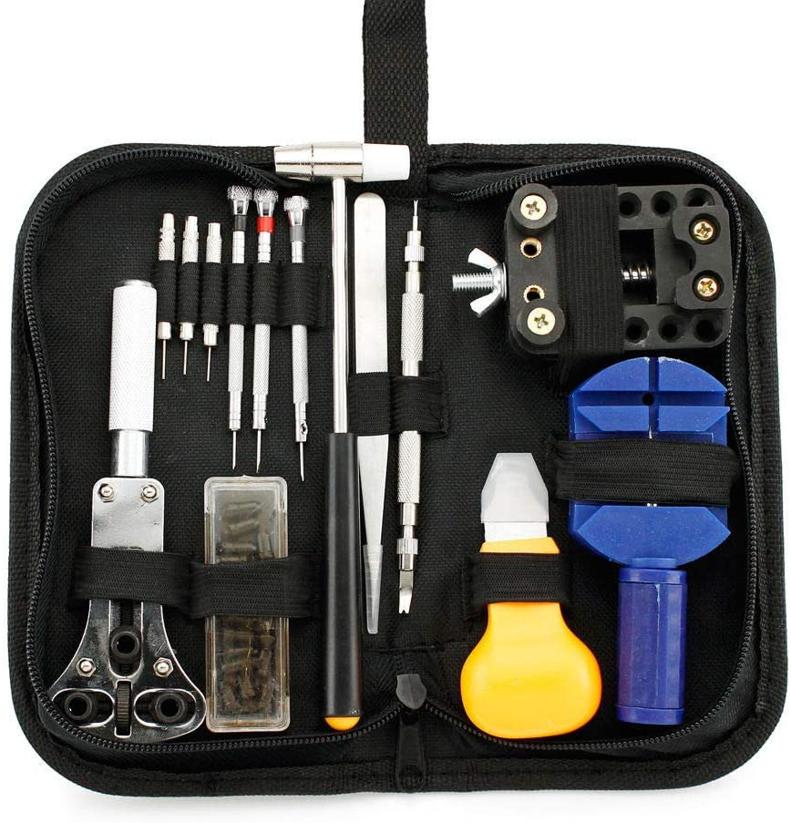 Shreem85 Repair Watch Tool Kit Opener Link Remover Spring Free Bar Hammer Carry Case BS