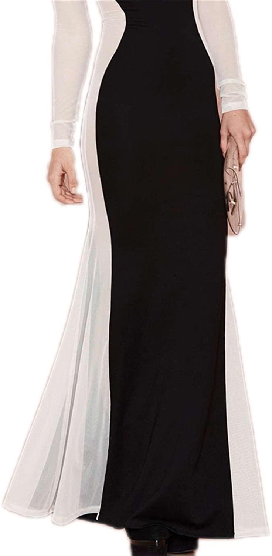 AS503anakla Fashion Women Party Dress Long Sleeve Semi-sheer Sexy Club Dress For Women Female O-Neck Elegant Fishtail Dress