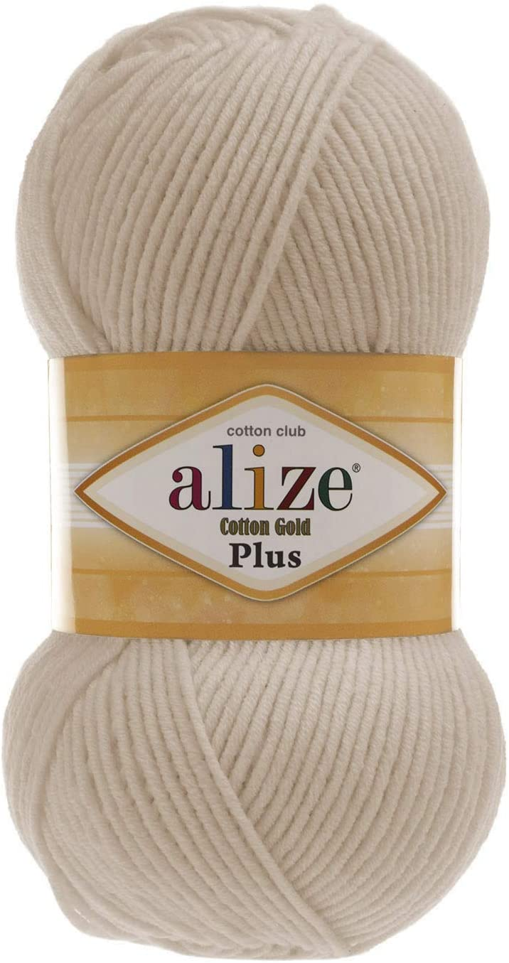 Worsted Cotton Yarn Alize Cotton Gold Plus Thread Crochet Hand Knitting Art Lot of 4skn 400 gr 876 yds Color 67 Candle Light