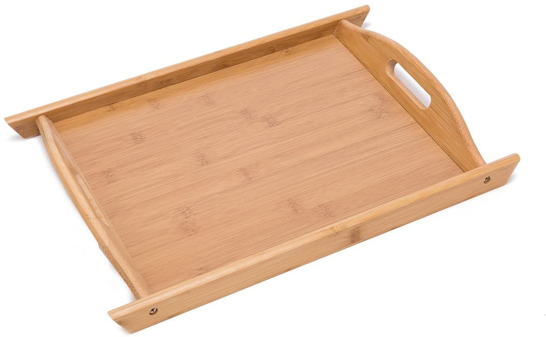 THY COLLECTIBLES Bamboo Breakfast Tray Food Buller Serving Tray with Handles for Home Party Camping (Med 14.6