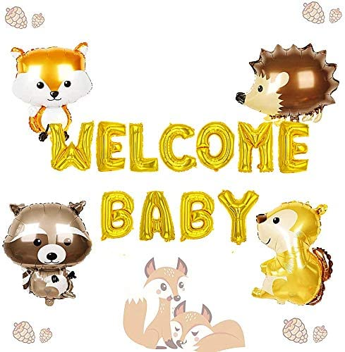 LaVenty 5 PCS Woodland Welcome Baby Balloons Woodland Baby Shower Decorations Woodland Animals Party Decoration