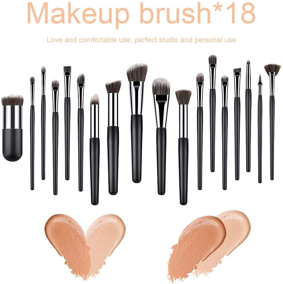 Grehod 18PCS Makeup Brush Set, Complete Set of Makeup Tool Brush, Beginner Makeup Brush Set, Loose Powder Brush, Eye Shadow Brush, Foundation Brush, Simple Black and Silver