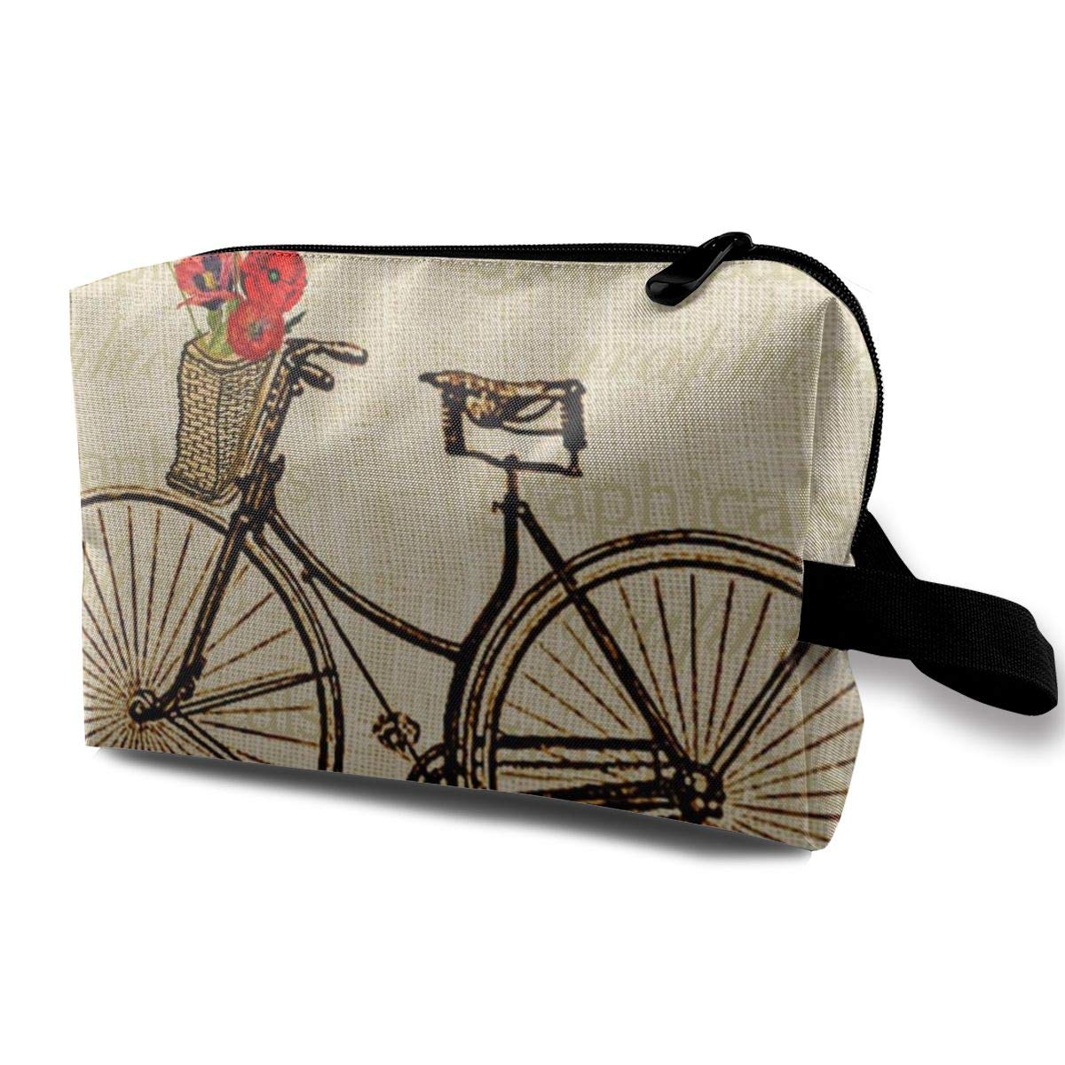 Vintage Bicycle Bike With Flowers Picture Toiletry Bag Multifunction Cosmetic Bag Portable Makeup Pouch Travel Organizer Bag For Women Girls