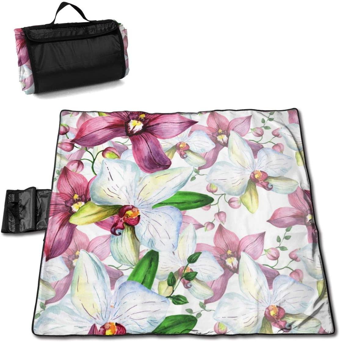 HONGSH Outdoor Picnic Blanket,Beach Blanket, Wildflower Orchid Flower Beach Mat, Waterproof Sandproof Foldable Picnic Mat, Portable Outdoor Beach Blanket for Beaches,Camping,Hiking Picnic