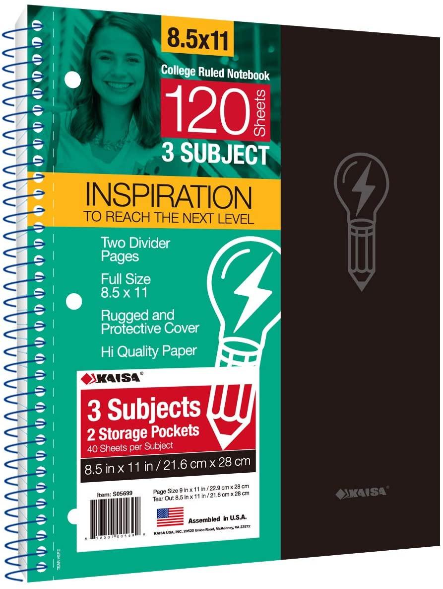 KAISA 120Sheets Notebook Premium Spiral Notebook, 3Subject 2 Pockets, 8.5