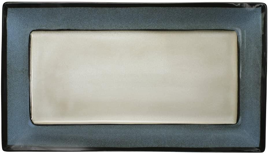 Gourmet Basics Belmont Blue Rectangular Serving Platter, 16-Inch